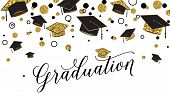 Graduation Word With Graduate Cap, Black And Gold Color, Glitter Dots On A White Background. Congrat poster