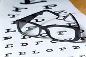 picture of snellen chart  - A pair of black reading glasses or spectacles on an Snellen eye chart - JPG
