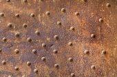 Rusty Metal From Metal Rivets, Beautiful Metal Texture, Metallic Background poster