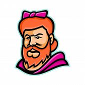 Mascot Icon Illustration Of Head Of A Bearded Lady Or Bearded Woman,  A Woman With A Visible Beard T poster
