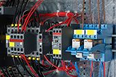 stock photo of fuse-box  - New control panel with static energy meters and circuit - JPG