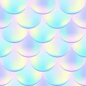 Постер, плакат: Magic Mermaid Vector Seamless Pattern With Holographic Effect Iridescent Mermaid Vector Background
