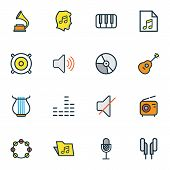 Audio Icons Colored Line Set With Radio, Timbrel, Folder And Other Loudspeakers Elements. Isolated   poster