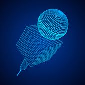 Microphone Vector. Wireframe Low Poly Mesh News Illustration. News On Tv And Radio. Interview. poster