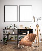 Mock Up Poster Frame In Hipster Interior Background, 3d Illustration poster