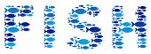 Fish Fish Word Mosaic In Blue Color Hues. Vector Fish Items Are Shaped Into Fish Word Abstraction. S poster