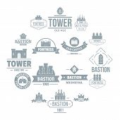 Towers Castles Logo Icons Set. Simple Illustration Of 16 Towers Castles Logo Vector Icons For Web poster