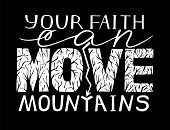 Hand Lettering Your Faith Can Move Mountains . Biblical Background. Bible Verse. Christian Poster. M poster