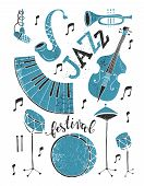 Vector Jazz Festival Poster Template. Saxophone, Double Bass, Piano, Trumpet, Bass Drum And Snare Dr poster