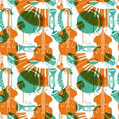Seamless Pattern With Music Instruments - Trombone, Trumpet, Double Bass, Saxophone, Bass Drum And S poster