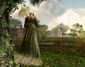 Rendered Image Of An Elegant Jane Austen Style Woman Strolling The Countryside, Regency Dress poster