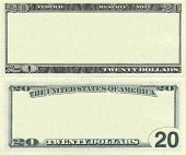 stock photo of twenty dollars  - Clear 20 dollar banknote pattern for design purposes - JPG