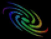 Pixel Impressive Halftone Galaxy Icon Drawn With Rainbow Color Shades With Horizontal Gradient On A  poster