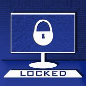 Computer Security Illustration, Flat Cartoon Design Desktop Pc With Closed Lock, Concept Of Firewall poster