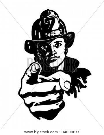Pointing Fireman - Retro Clipart Illustration