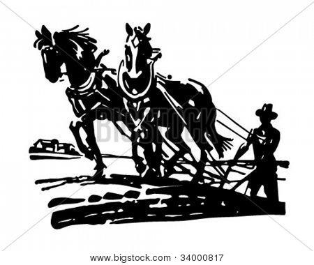 Horses Plowing Field - Retro Clipart Illustration