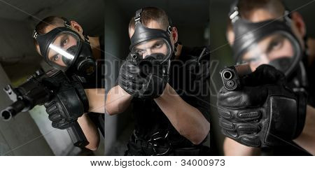 Collage Of A Soldier With Guns In Gas Mask