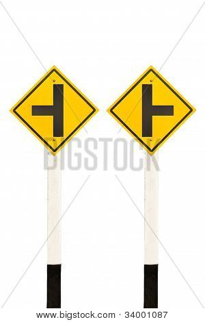 Left And Right Junction  Road Signpost
