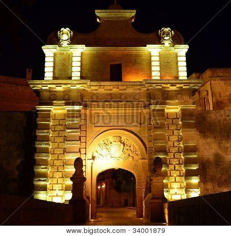 Main Gate To The Medieval City Of Mdina - Malta