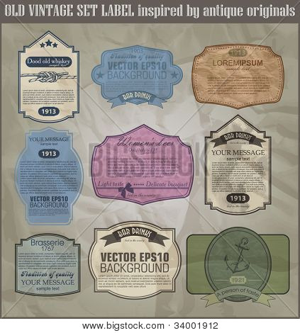 set old vintage label inspired by antiaue originals  for design food and beverages