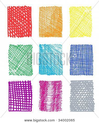 Artistic hand-drawn colored rectangled patterns isolated on white background