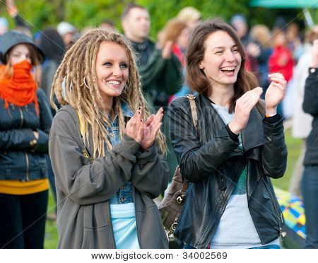 "MOSCOW - JUNE 3: People cheer and attend open-air concert on IX International Jazz Festival ""Usadba Jazz"" in ""Archangelskoye Mansion"" on June 3, 2012 in Moscow, Russia."