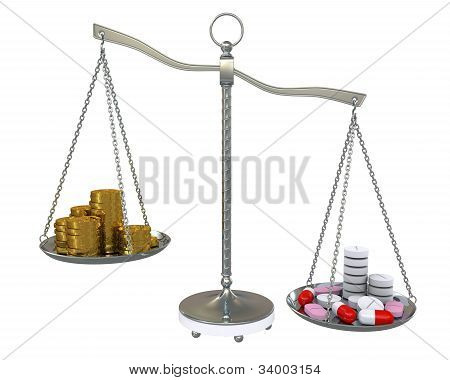Money And Pills In The Gold Balance Scales