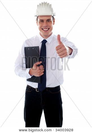 Cheerful Architect Gesturing Thumbs Up
