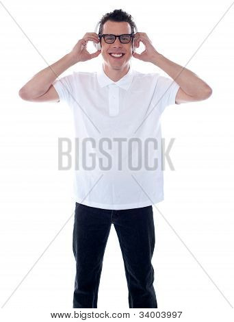 Cool Trendy Guy Enjoying Music