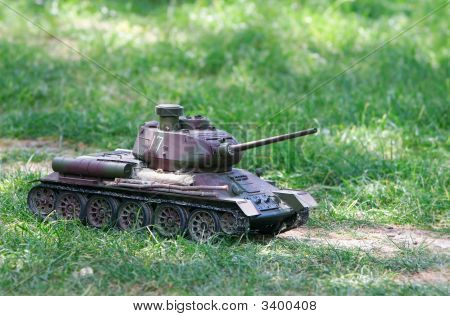 Toy Tank On Green Grass