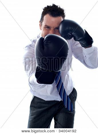 Corporate Man Posing Boxing Punch