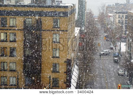 Snowstorm In Downtown Vancouver