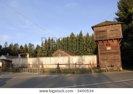 Wooden Fort Built By The Pioneers In The Pacific Northwes