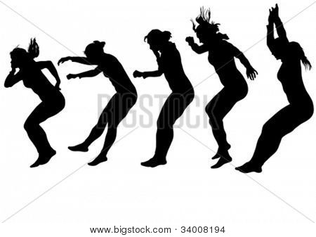 Vector image of people involved in parkour