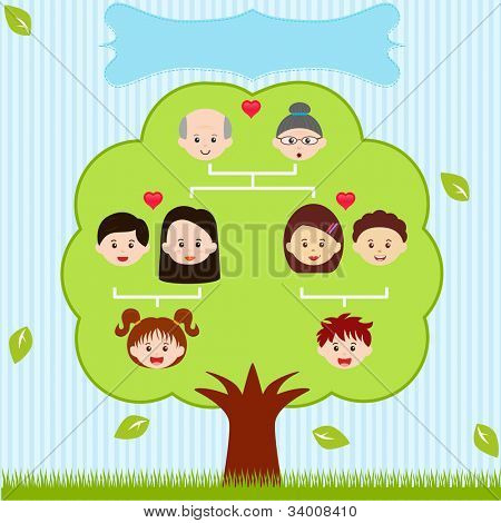 Vector Icons: Family Tree, A diagram on a genealogical tree, isolated on white background