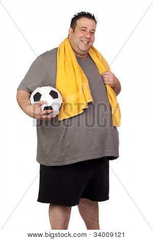 Fat man with a soccer ball isolated on a white background