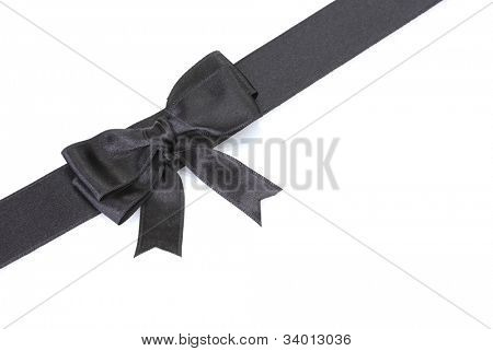 black bow on ribbon isolated on white