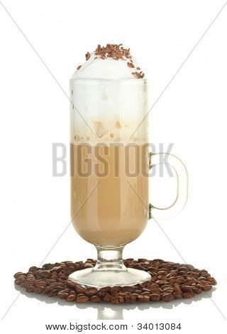 glass of coffee cocktail with coffee beans isolated on white