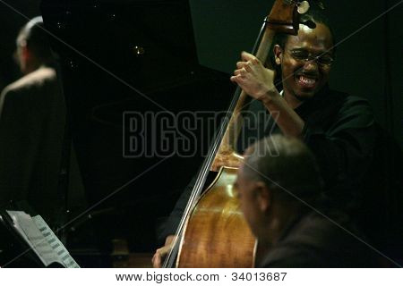 MADISON, NJ - JUNE 16: Bassist Holt Corcoran performs with the Steve Turre Quartet at Shanghai Jazz on June 16, 2012 in Madison, NJ.