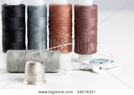 Sewing Accessories - Thread, Needle And Thimble