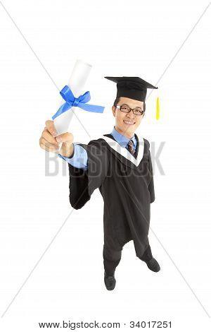 graduating asian student holding diploma certificate