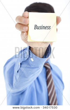 business man holding post with text BUSINESS