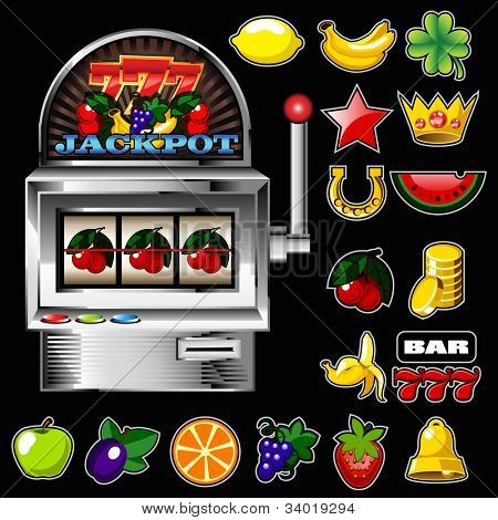 A slot fruit machine with cherry winning on cherries and Various slot fruit machine icons