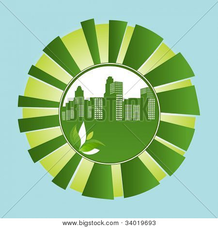 green city in sunshine burst environmental concept