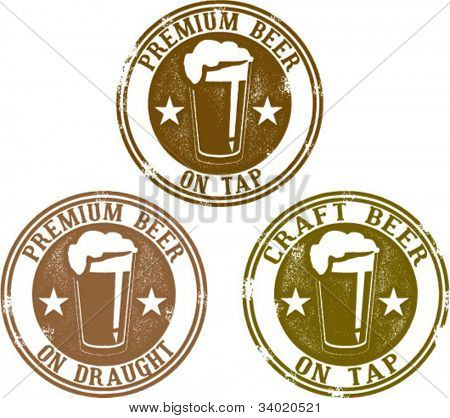 Premium Craft Beer on Tap or Draught Stamps