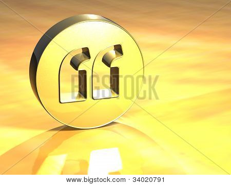 3D Quotation Marks Gold Sign
