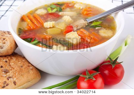 one serving of chicken and vegetable soup