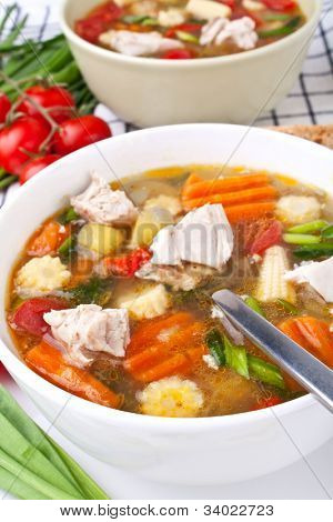 two servings of chicken and vegetable soup