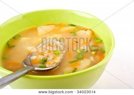 serving of lentil chicken soup