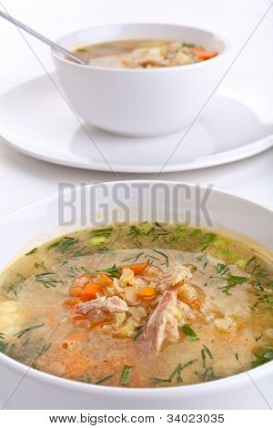 two servings of lentil chicken soup